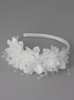 serre tête cérémonie communion blanc 3 larges fleurs et strass