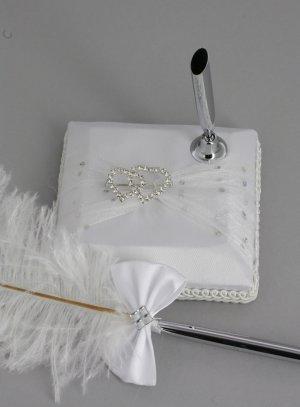 porte alliance, stylo et livre d'or... blanc