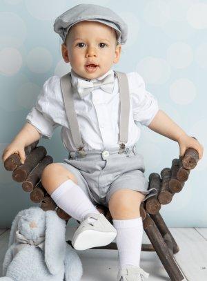 Tenue bébé garçon bermuda et bretelles Pierre gris