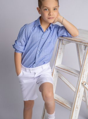Tenue mariage enfant avec bermuda blanc bleu Thomas