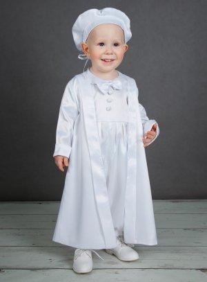 vêtement baptême blanc bébé garçon satin