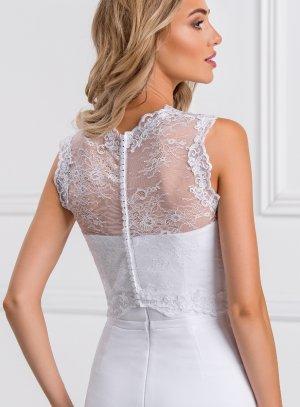 Top dentelle blanc sans manches pour robe de mariée