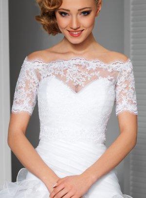 top dentelle manriage manches courtes pour robe de mariée blanche