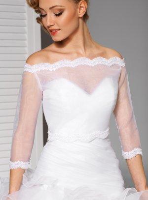 top sur robe de mariée en organza blanc