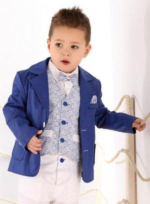 veste et gilet habillés garçon bleu roy