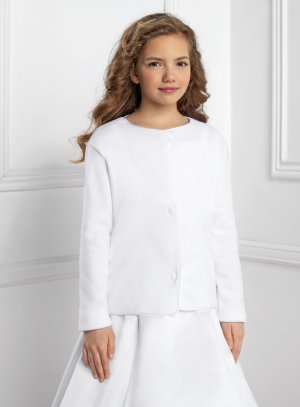 veste fille en toison blanche