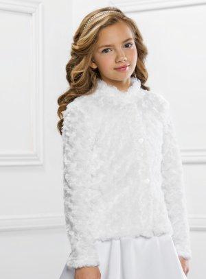 Veste communion fille hiver en fourrure blanche