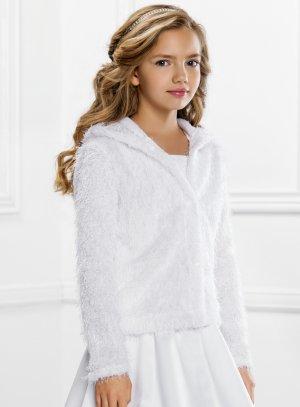 Veste de cérémonie fille en fausse fourrure d'hiver blanche