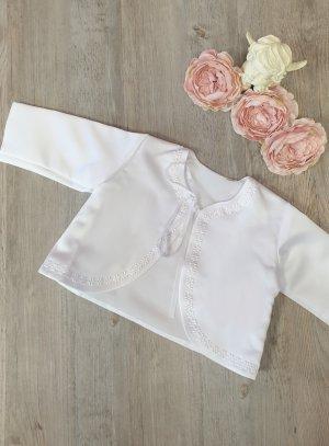 veste gilet baptême satin blanc bébé fille