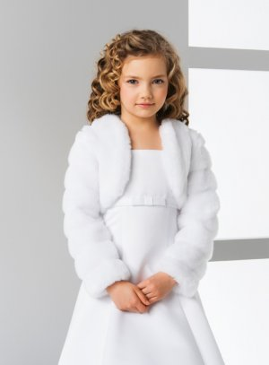 boléro fourrure enfant blanc manches longues côtelé blanc