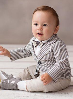 veste cérémonie mariage bébé garçon rayée
