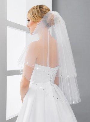 Long voile mariée strass blanc