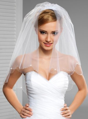mariage voile blanc strass