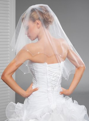 voile de mariée original bord pointe blanc