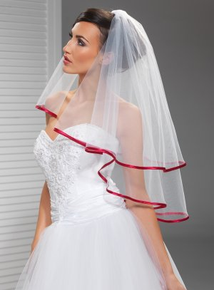 voile de mariée rouge bordure satin tulle blanc
