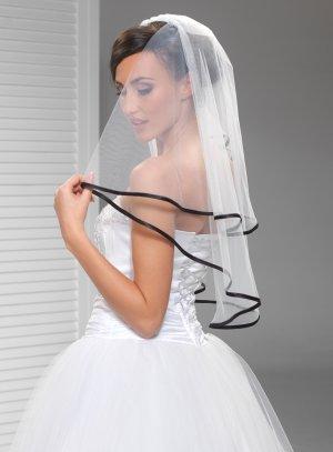 voile mariée noir tulle blanc bordure satin noir