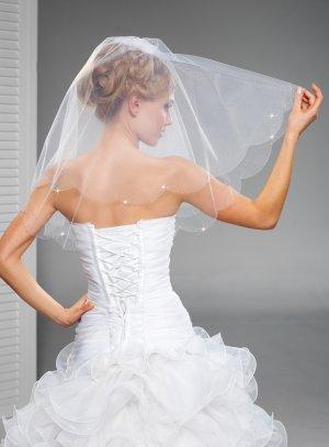 voile mariée pas cher blanc perlé