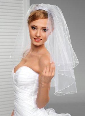voile mariée court blanc