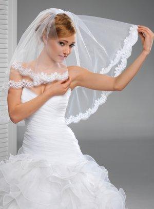 voile visage mariage avec dentelle blanc