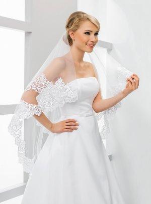 Voile long mariée dentelle large avec rabat blanc