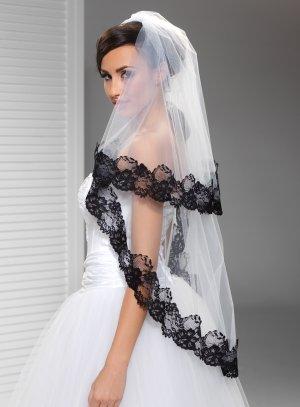 voile de mariée noir tulle blanc dentelle noire