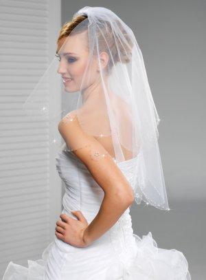 voile de mariée en tulle fleurs de perles blanc