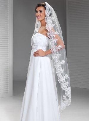 voile de mariée long dentelle blanc