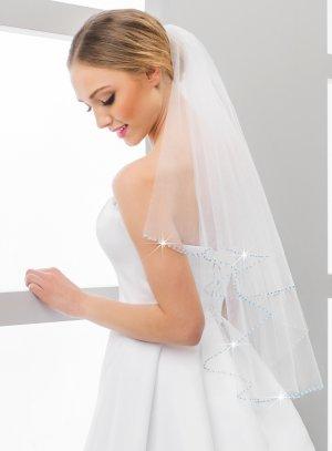 Voile pour robe de mariée perles bleues tulle blanc