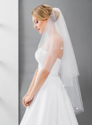 Voile de mariée long avec strass blanc