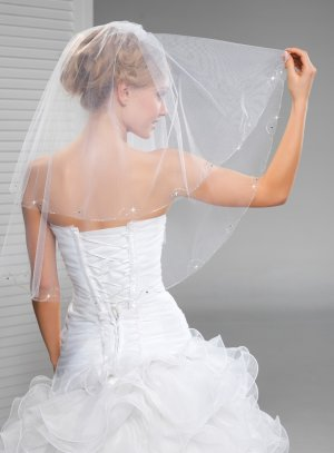 Voile mariée strass court ou long blanc