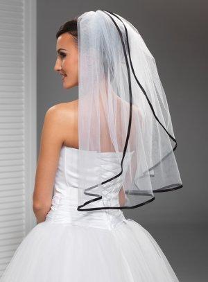 voile noir mariée bord satin noir et tulle blanc