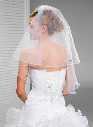 Voile de mariée long strass en fleur blanc