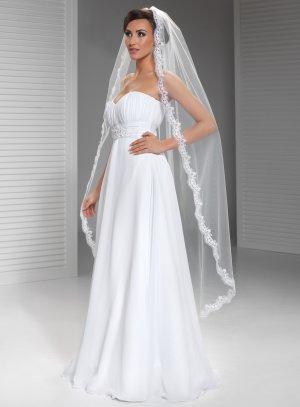 Voile mariée long brodé style espagnol madone blanc