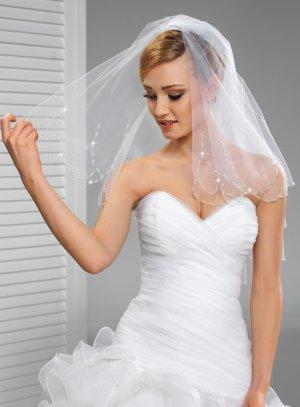 Voile mariée boheme volutes de perles blanc